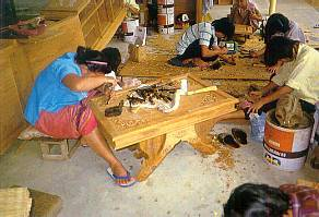 Wood-carvers at Work in Chiang Mai